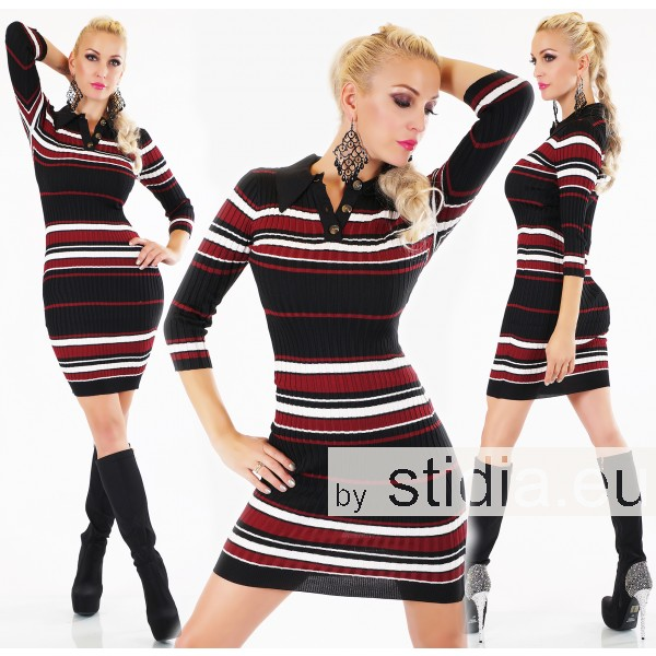 SEXY LONG PULLOVER MINI KLEID GESTREIFT ROT