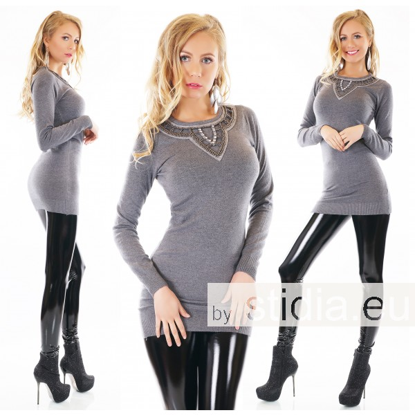 SEXY LONG PULLOVER SCHMUCK APPLIKATION GRAU