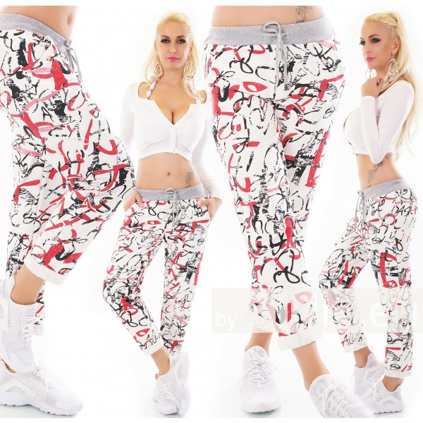 SEXY SWEAT HOSE ITALY JOGPANTS WEISS-ROT