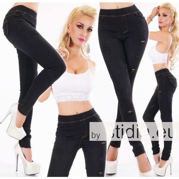 3 Stück SEXY Jeans HOSE Jeggings Tregging Risse SCHWARZ