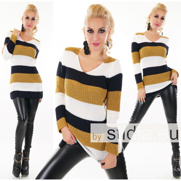 SEXY LONG PULLOVER SENF-GELB
