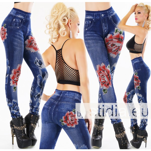 SEXY DICKE THERMO HOSE JEANS LOOK mit Perlen BLAU