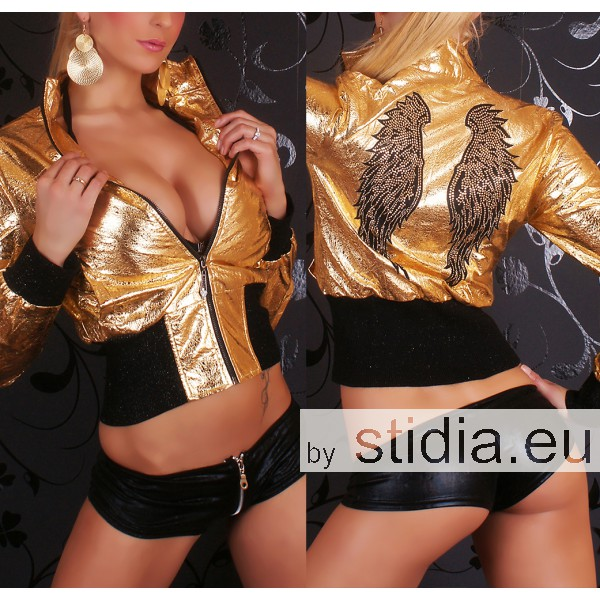 3 STÜCK SEXY JACKE REDIAL CRASH LEDER LOOK GOLD