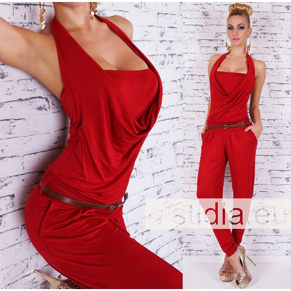 SEXY OVERALL JUMPSUIT INCL. GÜRTEL ROT