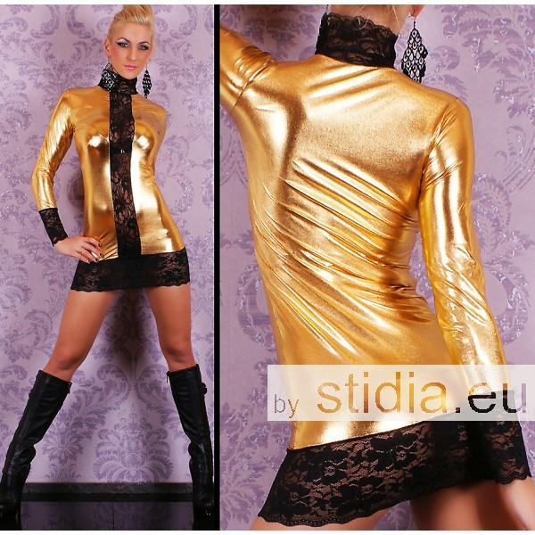 SEXY MINI KLEID LEDER WET LOOK SPITZE GOLD