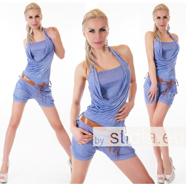 SEXY HOT PANTS OVERALL JUMPSUIT BLAU