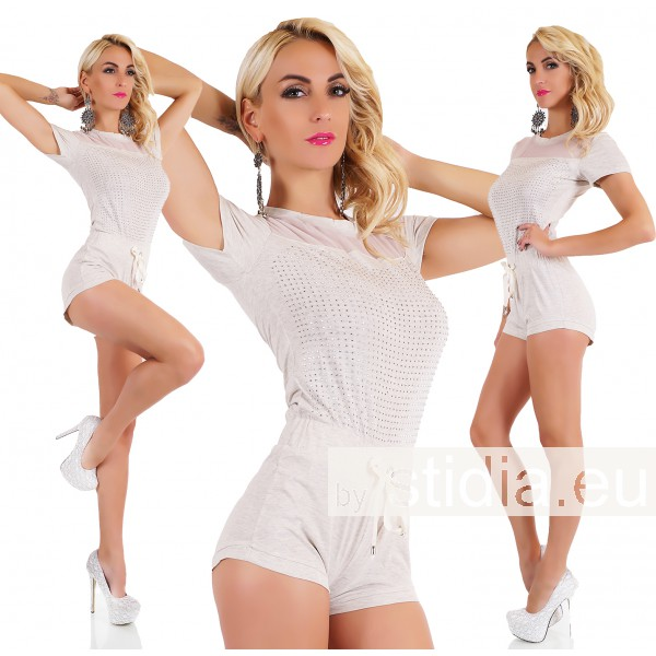 3 STÜCK SEXY HOT PANTS OVERALL JUMPSUIT BEIGE