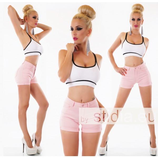 10 Stück SEXY HIGH WAIST HOT PANTS Jeans SHORTS rosa