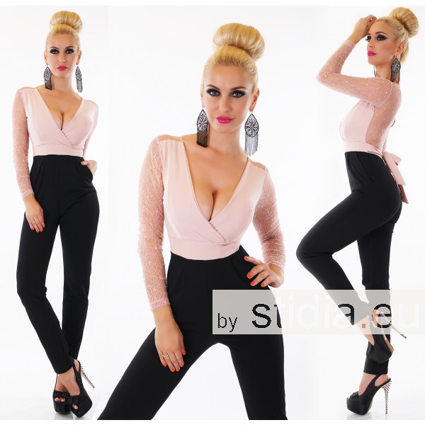 SEXY OVERALL JUMPSUIT SCHWARZ-ROSA