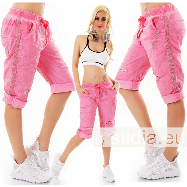 SEXY BERMUDA SHORTS HOSE RISSE PAILLETTEN PINK ITALY