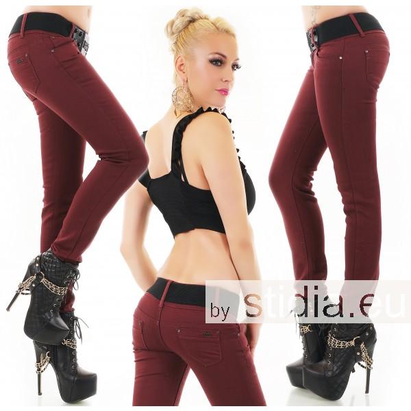 10 Stück SEXY Jeans INCL. GÜRTEL DUNKELROT