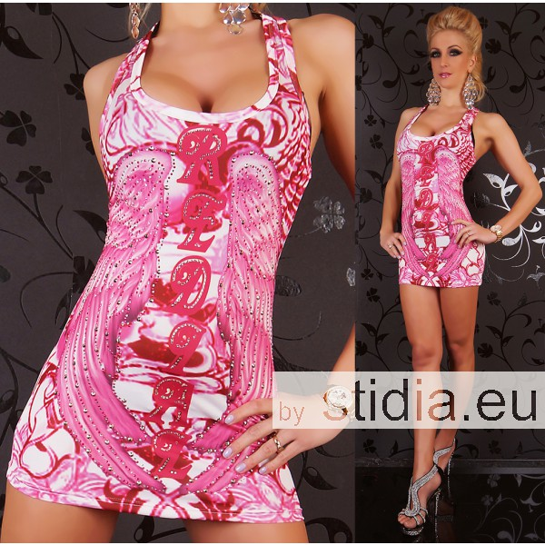 SEXY LONG TOP MINI KLEID REDIAL TATTOO PINK