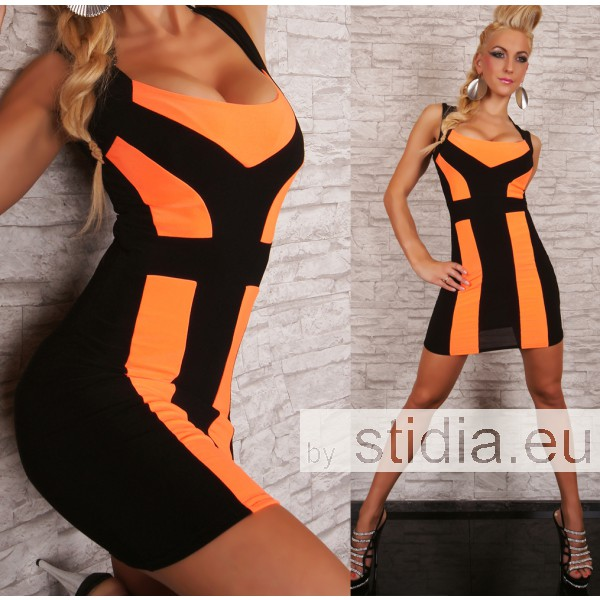 SEXY MINI KLEID SCHWARZ/NEON ORANGE