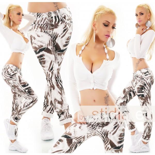 10 Stück SEXY Jeans ANIMAL PRINT WEISS-BRAUN