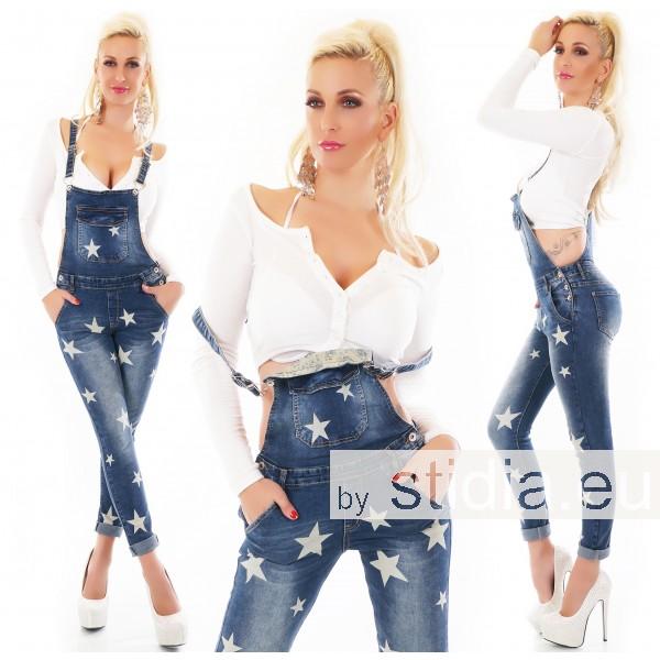 10 Stück SEXY LATZ Jeans STERNE BLUE WASHED