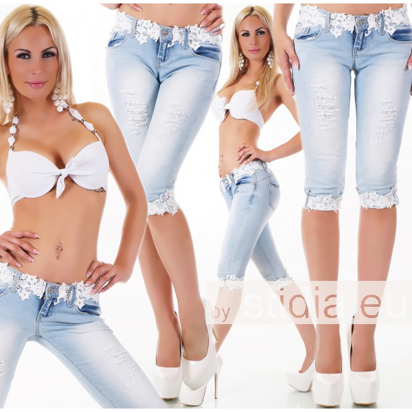 10 Stück SEXY CAPRI Jeans SHORTS BLUE WASHED