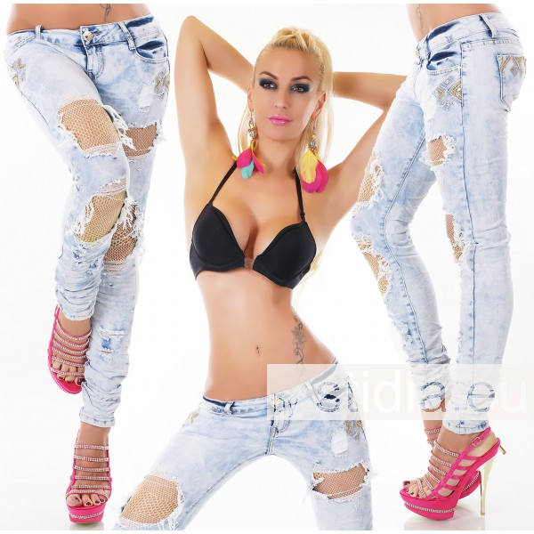 8 Stück SEXY Jeans GOLD HELLBLAU