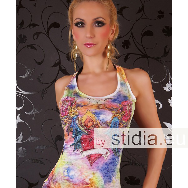 SEXY LONG TANK TOP REDIAL TATTOO STRASS GELB