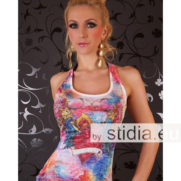 SEXY LONG TANK TOP REDIAL TATTOO STRASS PINK