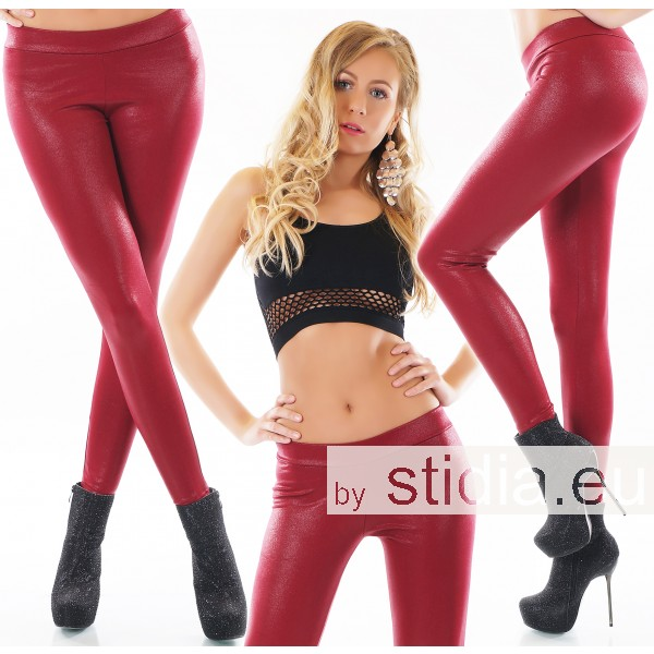 2 STÜCK SEXY THERMO HOSE LEGGING WET LOOK ROT