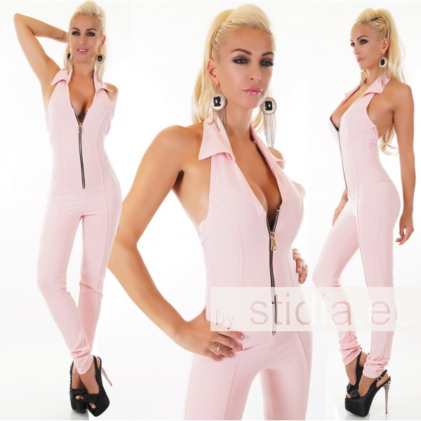 SEXY OVERALL JUMPSUIT ZIPPER ROSA