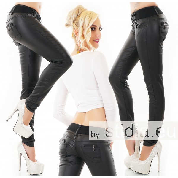 10 Stück SEXY Jeans INCL. GÜRTEL LEDER WET LOOK BLACK