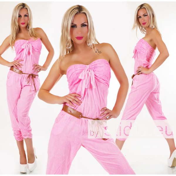 SEXY OVERALL JUMPSUIT NEON PINK