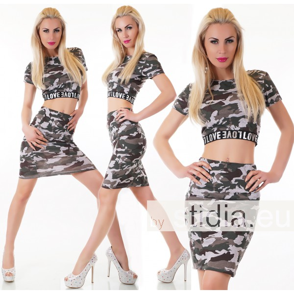 SEXY 2-TEILIGES SET: TOP + ROCK CAMOUFLAGE GRAU