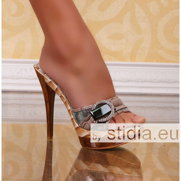 12 PIECES SEXY HIGH HEELS KHAKI