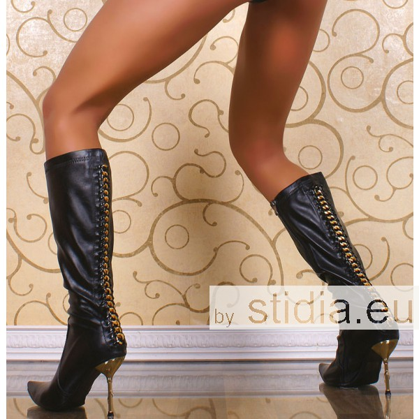 2 Stück SEXY HIGH HEELS BOOTS WITH GOLD CHAIN BLACK