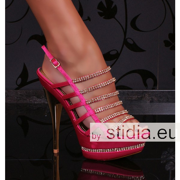 12 PIECES SEXY HIGH HEELS PINK/GOLD