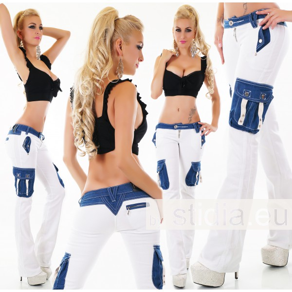 10 pieces Sexy Low Cut HIPSTER BOOTCUT JEANS WHITE-BLUE