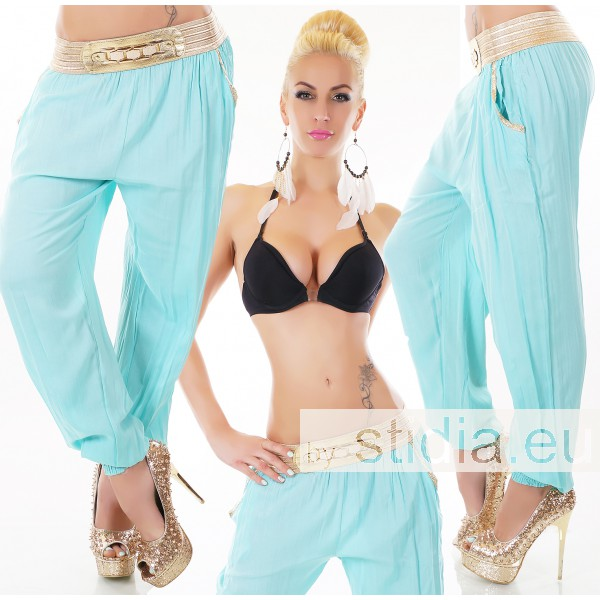 SEXY TROUSERS PANTS HAREM PUMP TURQUOISE