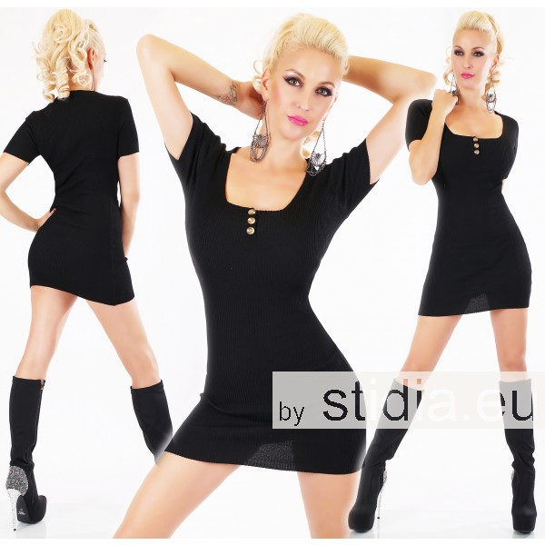 SEXY  KNITTED MINI DRESS BLACK