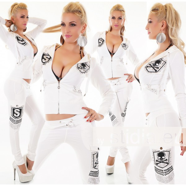 2 pieces SEXY JOGGING TRACKSUIT JACKET + TROUSERS WHITE