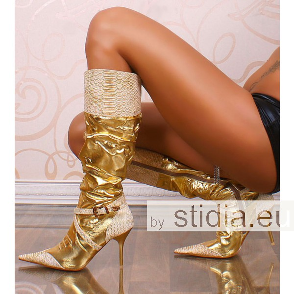12 Pieces SEXY HIGH HEELS BOOTS GOLD