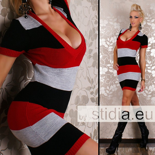 SEXY KNITTED MINI DRESS RED-BLACK