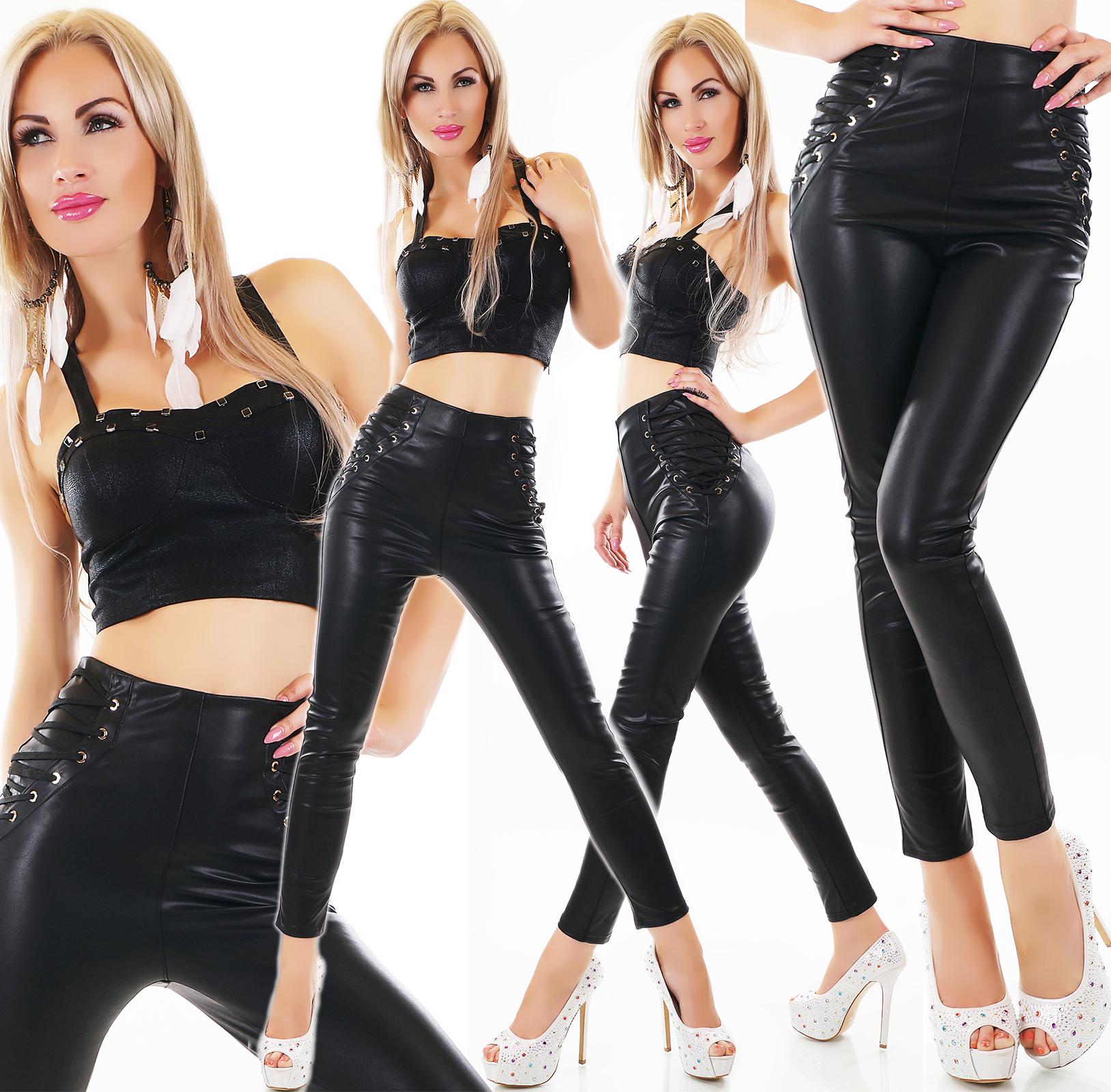 c66d33c6d7ae Detalles de Sexy Cintura Alta Piel Sintética Pantalones con Lateral  Cordones.uk 8.10.12.14